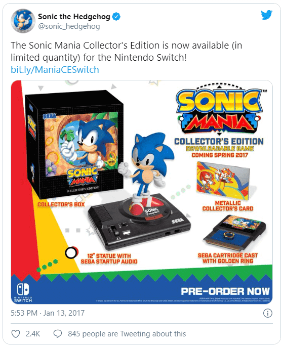 A Tweet from Sonic the Hedgehog promoting The Sonic Mania Collector's Edition.