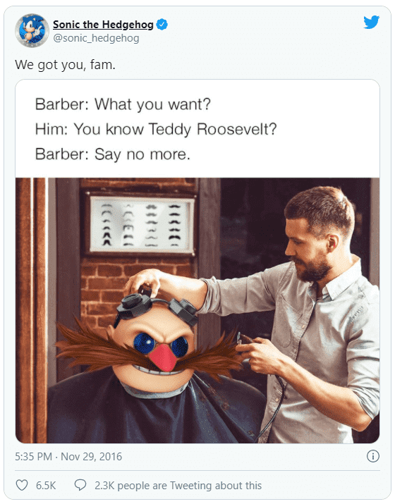 A Tweet from Sonic the Hedgehog making a joke about Dr Robotnik's resemblance to Teddy Roosevelt.
